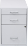 OSP Designs 3-Drawer Storage Cabinet with Locking Filing Drawer - White [HPBF11-FS-OS]