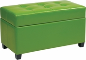 OSP Designs Storage Ottoman in Green Vinyl