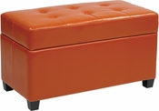 OSP Designs Storage Ottoman in Orange Vinyl