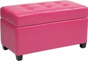 OSP Designs Storage Ottoman in Pink Vinyl