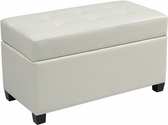 OSP Designs Storage Ottoman in White Vinyl