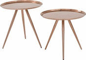 OSP Designs Tiffany Side Tables - Set of 2 - Brushed Copper
