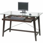 OSP Designs Tribeca Collection Tempered Glass Top Computer Desk with ''Tool-less'' Assembly - Espresso [TRI2542G-FS-OS]