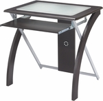OSP Designs X-Text Computer Desk with Frosted Glass and Slide Out Keyboard Tray - Espresso [XT59ES-FS-OS]