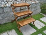 Outdoor Acacia Three-Layer Plant Stand with Teak Finish [V499-FS-VIF]