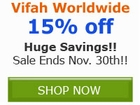 Save an ADDITIONAL 15% off Vifah Products for Home and by