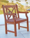 Outdoor Curved X Back Arm Chair with Slat Contour Seat [V99-FS-VIF]