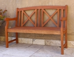 4' Outdoor Straight X Back Garden Bench with Arms and Contour Slat Seat [V507-FS-VIF]