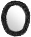 Oval Furr Mirror Black