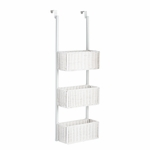 Space Saving Over The Door 12''W x 8.25''D x 38.25''H Hanging 3 Tier Basket Storage - White [HZ5233-FS-SENT]
