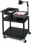 36''H Molded Plastic Mobile Overhead Projector Table with Storage Shelf - Black [OHS42-B-FS-LUX]