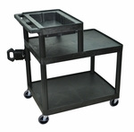 Mobile 3 Shelf Overhead Projector Table with Storage Shelf - Black - 32''W x 24''D x 37.25''H [OHS42-B-FS-LUX]
