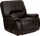 Plush Brown Leather Lever Rocker Recliner