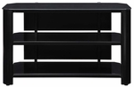 Oxford 42''W x 25.5''H TV Stand with Metal Frame and 3 Tempered Glass Storage Shelves - Black [TPT42G29-FS-INV]