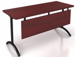 OSP Furniture Pace 5' Table with Modesty Panel and T-Arc Legs - Mahogany Top and Black Legs [PAC-TT60AM-MAH-BLK-OS]