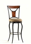 Pacifico Metal 26'' Counter Height Stool with Beige Faux Suede Swivel Seat - Black and Copper Highlights [4137-826-FS-HILL]