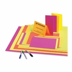 Pacon Corporation Poster Board - 12 Pt. - 22'' x 28'' - 25/CT - Neon PK/YW/OE/GN [PAC104234-FS-SP]