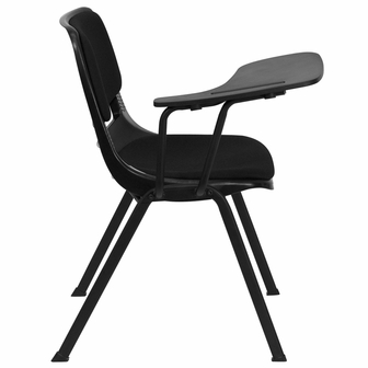 Black Padded Ergonomic Shell Chair With Right Handed Flip Up Tablet Arm RUT