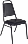 32''H Stackable Restaurant Chair - Black Vinyl [8029BK-REG]