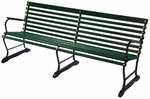 Paddock Style Russian Hardwood Slat and Black Steel Frame Bench with Arms - Green [71145-FS-ALG]