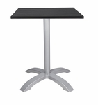 Nevada 32'' Square Black Durawood Table Top with Palm 4 Aluminum Table Base - Black [SC-1002-583-SC-2401-405-BLK-SCON]