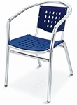 Palm Beach Collection Stackable Outdoor Arm Chair - Blue [AL-03-BLUE-FLS]