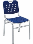 Palm Beach Collection Stackable Outdoor Side Chair - Blue [AL-03-0-BLUE-FLS]