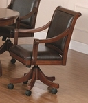 Palm Springs Height Adjustable Game Chair with Casters and Brown Leather Seat - Medium Brown Cherry [4185-800-FS-HILL]