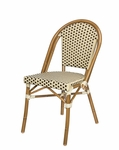 Paris Indoor/Outdoor Stackable Armless Side Chair with Light Bamboo Aluminum Frame - Cream and Chocolate [SC-2203-162-CREAM-CHOCOLATE-SCON]
