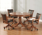 Park View 5 Piece Game Set with Multi Function Table and 4 Arm Chairs - Medium Brown Oak [4186GTBC-FS-HILL]