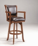 Park View Bar Stool with Arms and Deep Brown Leather Swivel Seat - Medium Brown Oak [4186-830-FS-HILL]