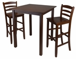 Parkland 3-Pc High Table Set with 2 Ladder Back Chairs [94359-FS-WWT]