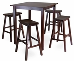 Parkland 5-Pc High Table Set with 4 Saddle Seat Stools [94549-FS-WWT]