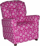 Kids Recliner with Button Tufted Back - Peace Pink [400-PEACE-PINK-FS-BZ]