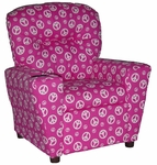 Kids Home Theatre Recliner with Cupholder - Peace Pink [401C-PEACE-PINK-FS-BZ]