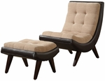 Peat Microfiber & Brown Vinyl Tufted Chair & Ottoman [876S650S-3A-FS-HOM]