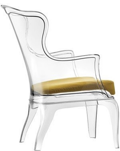 Pasha Outdoor Poly High Back Arm Chair in Clear PASHACLEAR by – Clear Arm Chair
