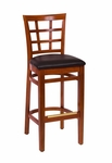 Pennington Cherry Wood Window Pane Barstool - Vinyl Seat [LWB629CHBLV-BFMS]