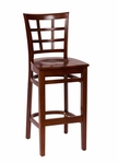 Pennington Mahogany Wood Window Pane Barstool - Wood Seat [LWB629MHMHW-BFMS]