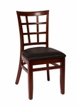 Pennington Mahogany Wood Window Pane Chair - Vinyl Seat [LWC629MHBLV-BFMS]