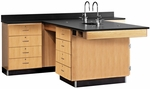 Perimeter Science Wooden Workstation with 1'' Thick Black Epoxy Resin Top and 16 Locking Drawers - 90''W x 84''D x 36''H [2846K-DW]
