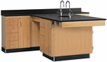 Perimeter Science Wooden Workstation with 1'' Thick Black Epoxy Resin Top, 4 Locking Cabinets, and 16 Locking Drawers - 90''W x 84''D x 36''H [2836K-DW]