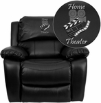 Dreamweaver Black Leather Rocker Recliner: Personalized Design [MEN-DA3439-91-BK-EMB-GG]