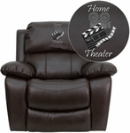 Dreamweaver Brown Leather Rocker Recliner: Personalized Design [MEN-DA3439-91-BRN-EMB-GG]