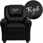 Personalized Black Leather Kids Recliner with Cup Holder and Headrest [DG-ULT-KID-BK-EMB-GG]