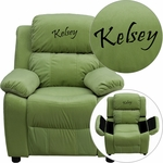 Personalized Deluxe Padded Avocado Microfiber Kids Recliner with Storage Arms [BT-7985-KID-MIC-AVO-EMB-GG]