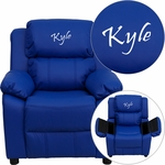 Personalized Deluxe Padded Blue Vinyl Kids Recliner with Storage Arms [BT-7985-KID-BLUE-EMB-GG]