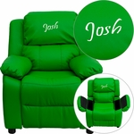 Personalized Deluxe Padded Green Vinyl Kids Recliner with Storage Arms [BT-7985-KID-GRN-EMB-GG]