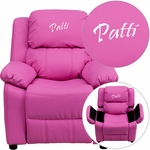 Personalized Deluxe Padded Hot Pink Vinyl Kids Recliner with Storage Arms [BT-7985-KID-HOT-PINK-EMB-GG]