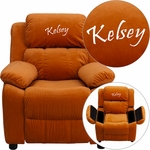 Personalized Deluxe Padded Orange Microfiber Kids Recliner with Storage Arms [BT-7985-KID-MIC-ORG-EMB-GG]